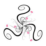 Flower decoration. Vector abstract floral ornament, with pink circles, curls. Additional format uploaded Royalty Free Stock Images