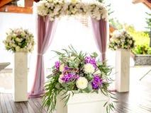 Flower decoration on background of wedding arch Stock Photo