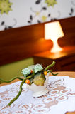 Flower decoration on a bedroom table Royalty Free Stock Images
