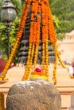 Flower decoration, Bodhgaya, Bihar, India. Flower decoration in front of the temple in Bodhgaya, Bihar, India, Asia stock photos