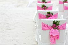 Flower decoration chair on beach Stock Photo