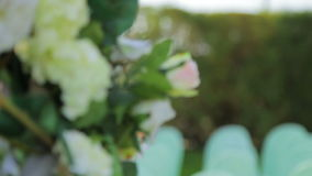 Flower Decoration and Decorated Chairs At  Wedding stock footage