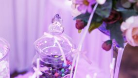 Table decoration with sweets stock video