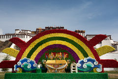 Flower decoration in font of Potala Palace, Tibet Royalty Free Stock Photo