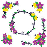 Flower Decoration. Flower frame vector, flower wreath with purple color Royalty Free Stock Image