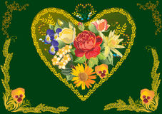 Flower decoration in gold heart shape frame Stock Photos