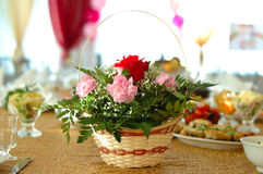 Flower decoration on holiday table. Royalty Free Stock Photography