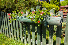 flower decoration and old wooden fence Stock Photos