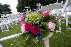 Flower decoration at an outdoor wedding