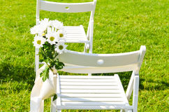 Flower decoration at an outdoor wedding Stock Photography