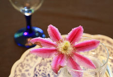 Flower decoration on the table. Decorated scenes of red flowers on the table Royalty Free Stock Photos