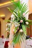 Flower decoration of wedding banquet hall interior Stock Photos