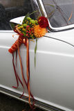 Flower decoration wedding car Stock Images