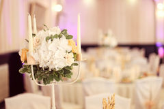 Flower decoration on a wedding table Stock Photos
