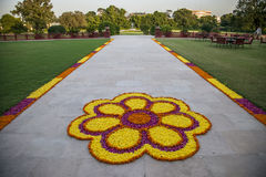 Flower decorations on the road in india stock image