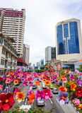 Flower decorations on the street in Singapore Stock Images