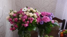Flower decorations on the wedding tables stock video footage