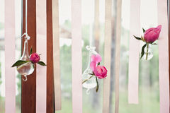 Flower decorations on a window. Royalty Free Stock Photography