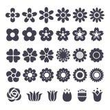 Flower decorative icons set Royalty Free Stock Image