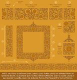 Flower Decorative Ornaments Building Kit - Ochre. Flower Decorative building blocks to create Ornament compositions. EPS-10 all elements neatly on well-defined Stock Images