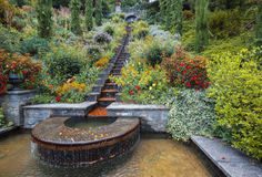 Flower decorative water stairs in  late summer park Stock Images