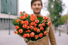 Flower Delivery Concept. Focus On Bouquet Of Flowers Royalty Free Stock Image