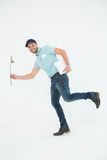 Flower delivery man running on white background Stock Images