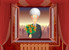 Flower delivery in window surprise Royalty Free Stock Photography