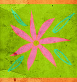 Flower design. Pink flower on old scraped and spotted paper stock illustration