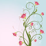 Flower design. Simple floral design with pink flowers Stock Photo
