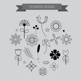 Flower design elements icons with outline style ,vector illustra Royalty Free Stock Photos