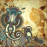 Flower design on gold grunge background Stock Photo