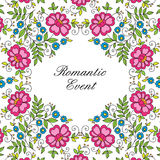 Flower design lace frame. Colorful invitation. Royalty Free Stock Photography