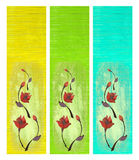 Flower Design on Painted Wood Isolated Stock Photography