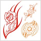 Flower design for tattoo. Vector illustration. Royalty Free Stock Images