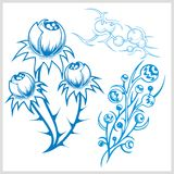 Flower design for tattoo. Vector illustration. Royalty Free Stock Photography