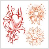 Flower design for tattoo. Vector illustration. Royalty Free Stock Photo