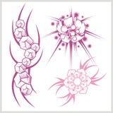 Flower design for tattoo. Vector illustration. Stock Images