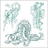 Flower design for tattoo. Vector illustration. Royalty Free Stock Image