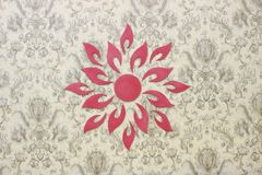 Flower design on wall. Beautiful red flower wall design Royalty Free Stock Image