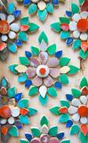 Flower designs made from handcut colorful tiles Stock Photography