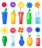 Flower in different vases vector set Stock Images