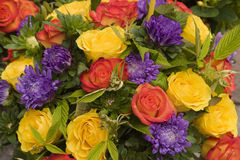 Flower Display. A bouquet of flowers at a street market in Paris shows off really bright colors and contrasts royalty free stock photography