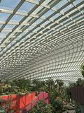 Flower Dome at Gardens By The Bay Singapore. June 2018 Image of the glass roof of the Flower Dome at the Gardens by the Bay in Singapore royalty free stock photos