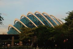 Flower Dome in Singapore. Exterior of Flower Dome in Gardens by the Bay, Singapore stock images