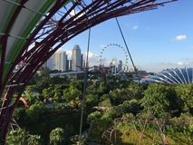 Flower dome and Singapore Flyer Royalty Free Stock Photos