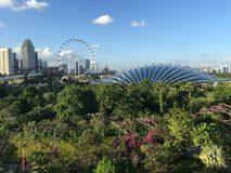 Flower dome and Singapore Flyer Royalty Free Stock Photography
