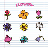 Flower doodle icons set Royalty Free Stock Images