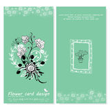 Flower doodle vector card designs background Royalty Free Stock Photos