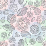 Flower doodles watercolor seamless pattern Royalty Free Stock Image